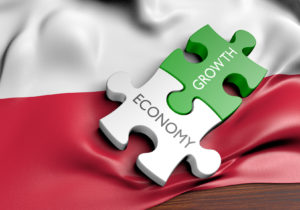 Poland economy and financial market growth concept, 3D rendering